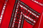 Red traditional romanian carpets
