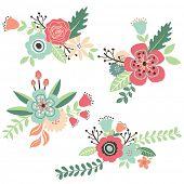 Hand Draw Vintage Floral Set