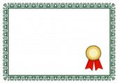 A stylized blank diploma. All on white background.