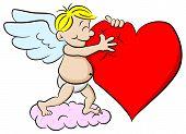 Cupid Hugging A Heart