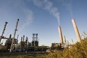 Oil refinery over blue sky