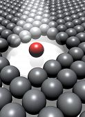 A single highlighted red ball among a crowd of grey balls.