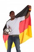 A german soccer supporter cheering. All on white background.