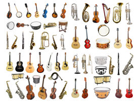 stock photo of wind instrument  - Musical instruments isolated under a white background - JPG