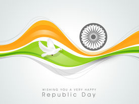 picture of ashoka  - Happy Indian Republic Day concept with national flag colors wave - JPG