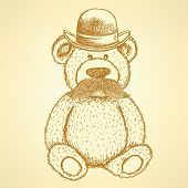 Sketch Teddy Bear In Hat With Mustache, Vector Background