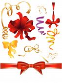 set of decorative bows and ribbons