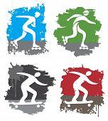 Inline Skateboard Grunge Icons