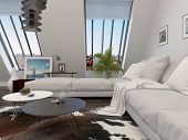 Modular cream lounge suite in a modern living room interior with large windows in a sloping wall