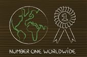 Number One, Design Of The World With Winner Ribbon