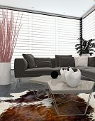 Modern lounge interior with large windows covering two walls, an animal skin on the floor, contempor