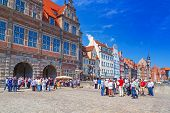 GDANSK, POLAND - 20 MAY: The Green Gate in the old town of Gdansk on 20 May 2014. Green gate built i