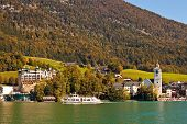 Town St. Wolfgang On Wolfgangsee Lake In Austria