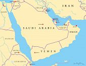 stock photo of euphrates river  - Political map of Arabian Peninsula with capitals - JPG