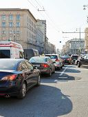 Traffic Jam On Tverskaya Street In Moscow, Russia