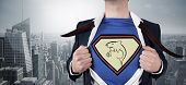 Composite image of businessman opening shirt in superhero style against cityscape