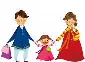 stock photo of hanbok  - The view of parents are holding a hand of daughter - JPG