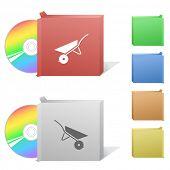 Wheelbarrow. Box with compact disc.