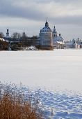Northern Russian Monastery In Winter.