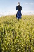 Defocused Amish Woman Walking In A Field