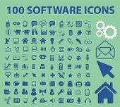 100 software, app, application, system administration, interface icons set, vector
