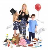 pic of upset  - A working mother is stressed and tried on a cell phone with wild children making a mess for a discipline or parenting concept - JPG
