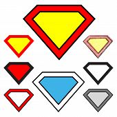 foto of superman  - Colored diamond shapes isolated on white background - JPG