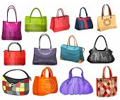 Women's fashion collection of bags. Set with different bags.