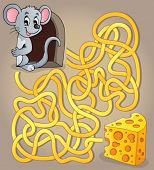 Maze 1 with mouse and cheese - eps10 vector illustration.