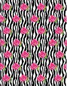 Rose Flower Zebra Wave Background