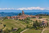Small town on the hill surrounded by green vineyards and mountains with snowy peaks on background in