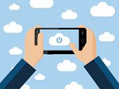 Cloud computing concept, vector flat illustration. Hands holding smartphone connecting to the cloud