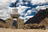 Stupa And Mani Wall Around Pidmu Village - Zanskar Trek, Ladakh, Jammu And Kashmir, India