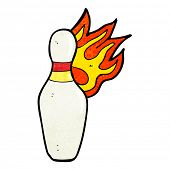 cartoon ten pin bowling skittle on fire
