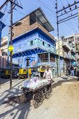 Man With Pushcart And Cargo On The Street In Jodhpur