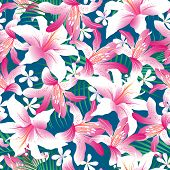 Tropical Hibiscus Floral 3 Seamless Pattern