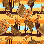 No.1 Dad Cowboy Seamless Pattern