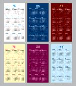 calendar grid for 2014 2015 2016 2017 2018 2019