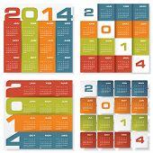 collection of 4 simple editable vector calendar 2014