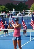 US Open 2013 girls junior champion Ana Konjuh from Croatia during trophy presentation