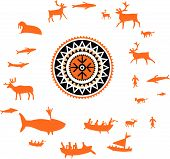 Northern sun with wild animal and hunting people