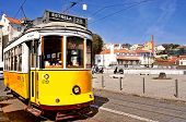 LISBON, PORTUGAL - MARCH 18: A typical tram 28 in Alfama district on March 18, 2014 in Lisbon, Portu