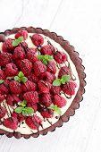 tart with raspberries and chocolate - sweet food
