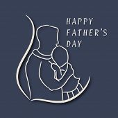 Line art illustration of a father and baby on grey background on occasions of Happy Father's Day celebrations.
