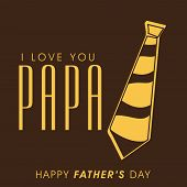 Greeting card design with golden and brown necktie for celebration of Happy Father's Day.