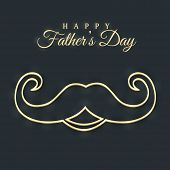 Mustache on black background for Happy Father's Day celebrations.