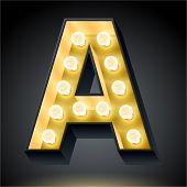 Realistic dark lamp alphabet for light board. Vector illustration of bulb lamp letter a