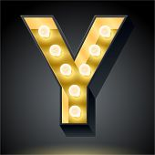 Realistic dark lamp alphabet for light board. Vector illustration of bulb lamp letter y