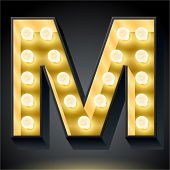 Realistic dark lamp alphabet for light board. Vector illustration of bulb lamp letter m