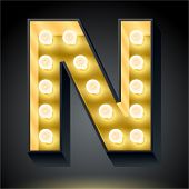 Realistic dark lamp alphabet for light board. Vector illustration of bulb lamp letter n